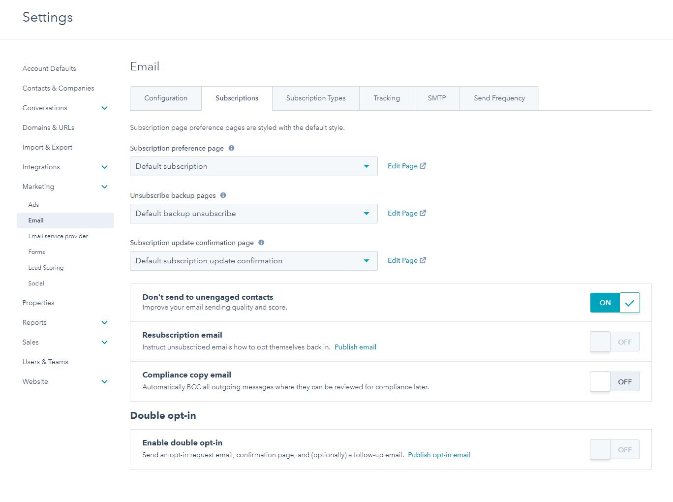 Bureau Vet - marketing automation- email marketing - AVG proof - Hubspot settings