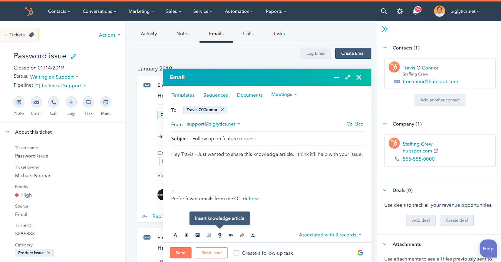 hubspot interface